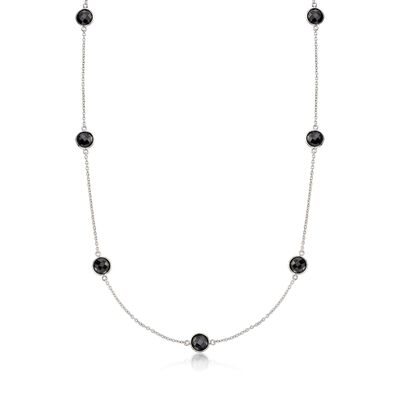 25.00 ct. t.w. Bezel-Set Black Spinel Station Necklace in Sterling, , default