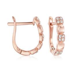 .20 ct. t.w. Pave Diamond Hoop Earrings in 14kt Rose Gold, , default