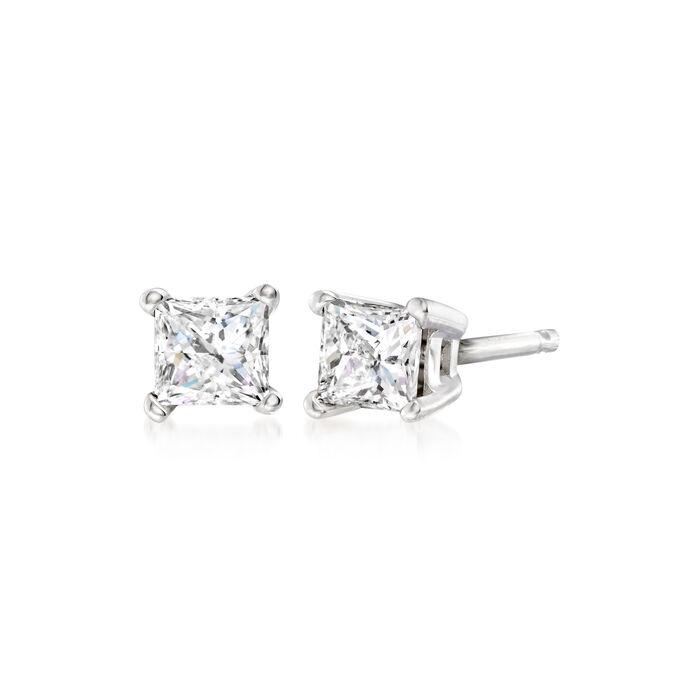 .33 ct. t.w. Princess-Cut Diamond Stud Earrings in 14kt White Gold