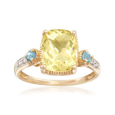 3.00 ct. t.w. Lemon Quartz and Blue Topaz Ring in 14kt Yellow Gold, , default
