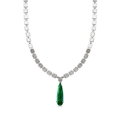 C. 1970 Vintage 11.80 Carat Green Tourmaline and 1.50 ct. t.w. Diamond Necklace in 18kt White Gold, , default