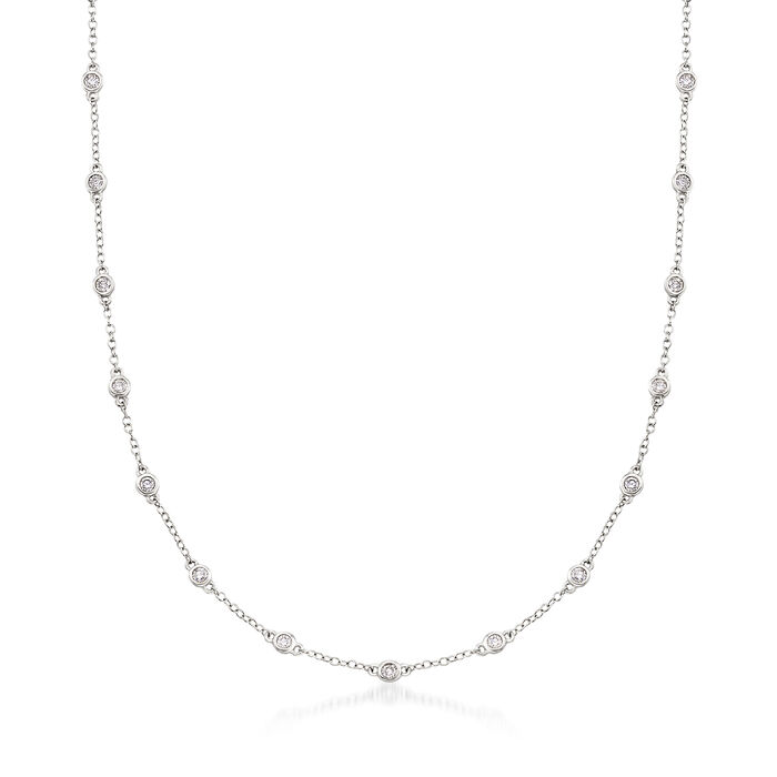 1.00 ct. t.w. Diamond Bezel-Set Station Necklace in 18kt White Gold