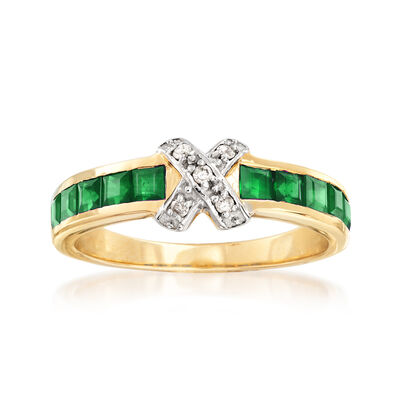 .90 ct. t.w. Emerald X Ring with Diamond Accents in 14kt Yellow Gold