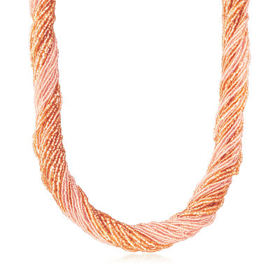 Italian Peach Murano Glass Bead Torsade Necklace with 18kt Gold Over Sterling, , default
