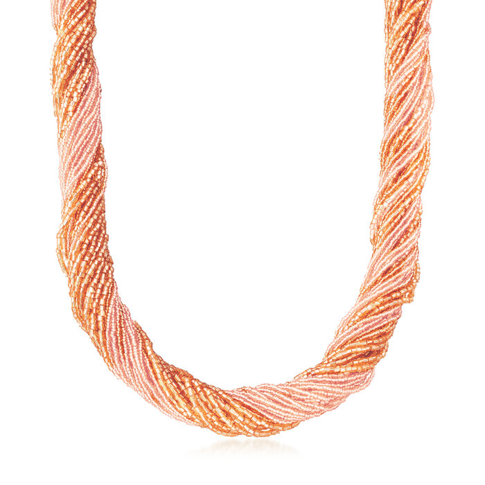 """Italian Peach Murano Glass Bead Torsade Necklace with 18kt Gold Over Sterling. 20"""""""