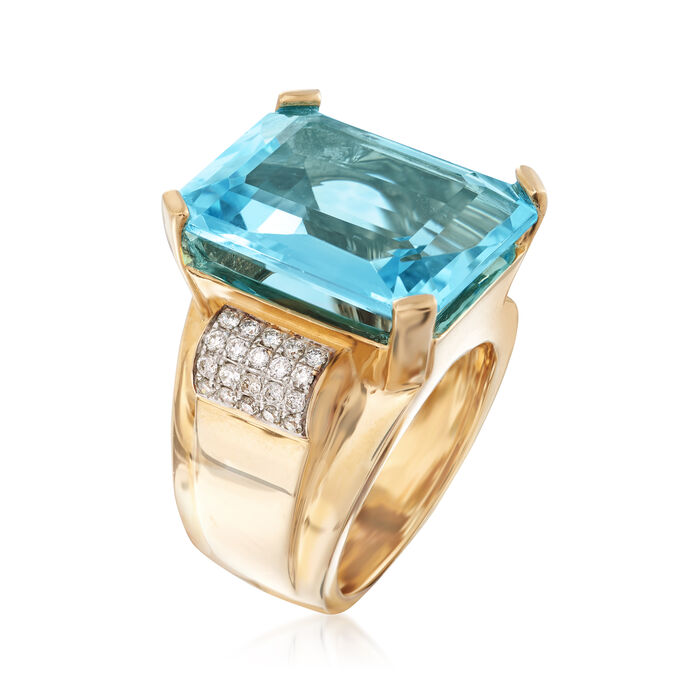 20.00 Carat Swiss Blue Topaz and .40 ct. t.w. Diamond Ring in 14kt Yellow Gold