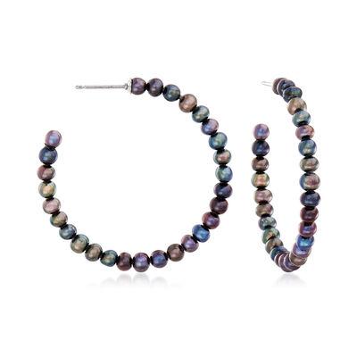 3-3.5mm Black Cultured Pearl C-Hoop Earrings in Sterling Silver