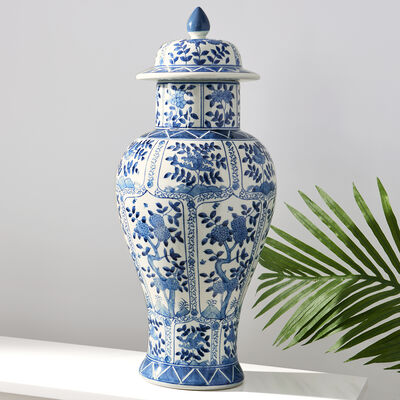 Blue and White Porcelain Floral Chrysanthemum Temple Jar , , default