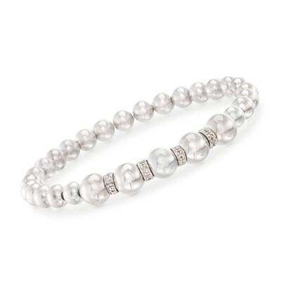 Sterling Silver Stretch Bead Bracelet With .24 ct. t.w. Diamonds, , default