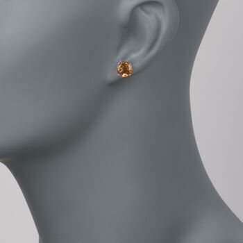 3.30 ct. t.w. Citrine Stud Earrings in 14kt White Gold, , default