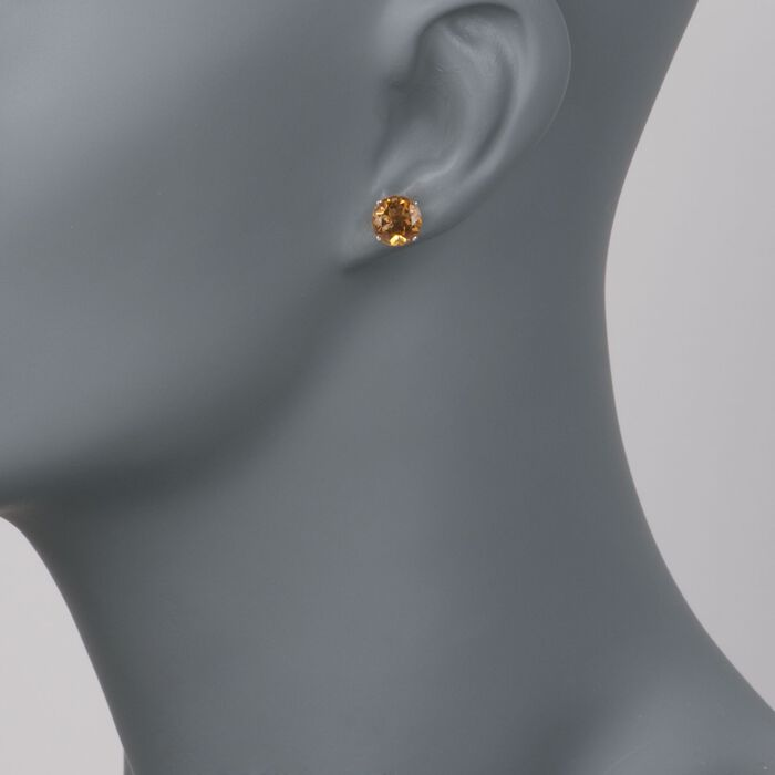 3.30 ct. t.w. Citrine Stud Earrings in 14kt White Gold