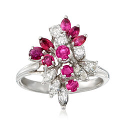 C. 1970 Vintage 1.25 ct. t.w. Ruby and .60 ct. t.w. Diamond Ring in 14kt White Gold, , default