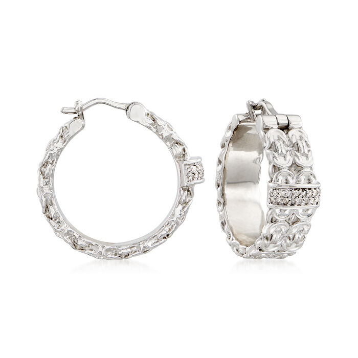 .10 ct. t.w. Diamond Double-Row Byzantine Hoop Earrings in Sterling Silver