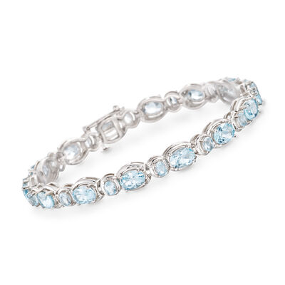 16.00 ct. t.w. Blue Topaz Line Bracelet in Sterling Silver, , default