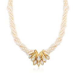 """C. 1970 Vintage 3.5mm Cultured Pearl Necklace With 1.85 ct. t.w. Diamonds in 18kt Yellow Gold. 17"""", , default"""