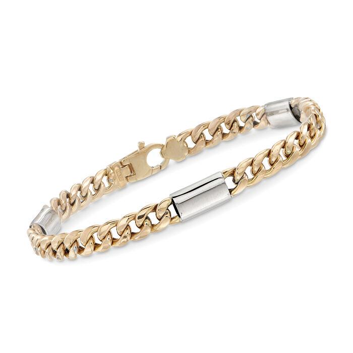 "Italian Men's Two-Tone Link Bracelet. 8.5"", , default"