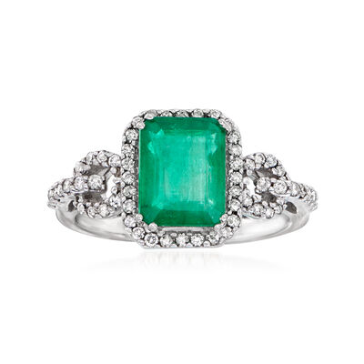 2.30 Carat Emerald and .38 ct. t.w. Diamond Ring in 14kt White Gold