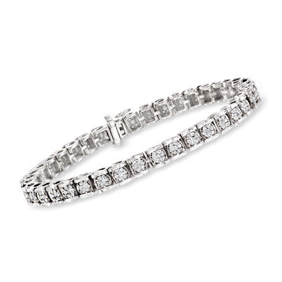 2.00 ct. t.w. Diamond Cluster Tennis Bracelet in Sterling Silver