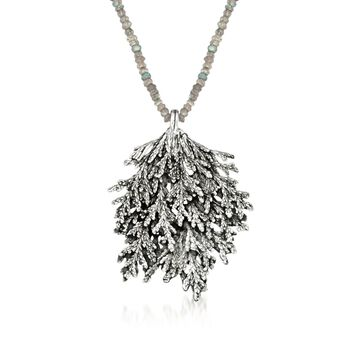 "Sterling Silver Leaf and Labradorite Bead Necklace. 18.5"", , default"