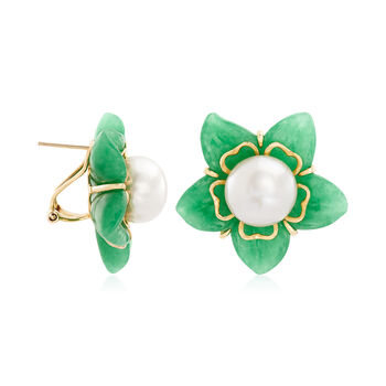 11-11.5mm Cultured Freshwater Pearl and Green Jade Flower Earrings with 14kt Yellow Gold