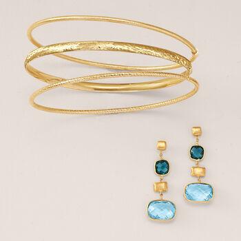 Italian 14kt Yellow Gold Roped Bangle Bracelet, , default
