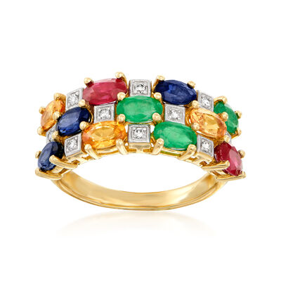3.20 ct. t.w. Multi-Gem Ring with Diamond Accents in 14kt Yellow Gold, , default