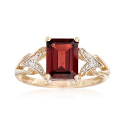 2.20 Carat Emerald-Cut Garnet Ring With Diamond Accents in 14kt Yellow Gold, , default