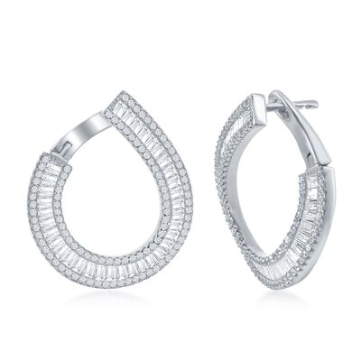 3.45 ct. t.w. Baguette and Round CZ Double Hoop Earrings in Sterling Silver, , default