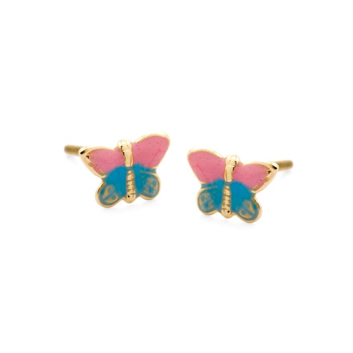 Child's Pink and Blue Enamel Butterfly Earrings in 14kt Yellow Gold, , default