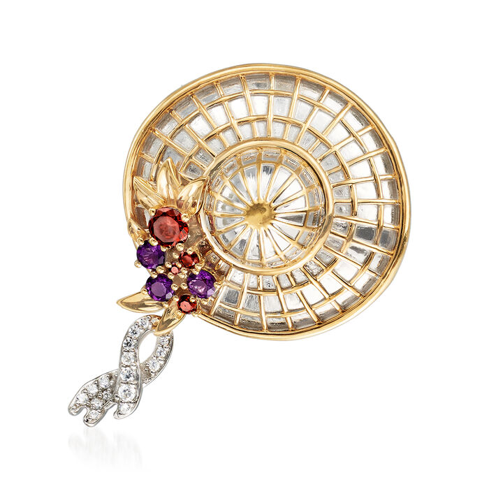 5.50 ct. t.w. Multi-Gem Fancy Hat Pin in Sterling Silver and 18kt Gold Over Sterling, , default