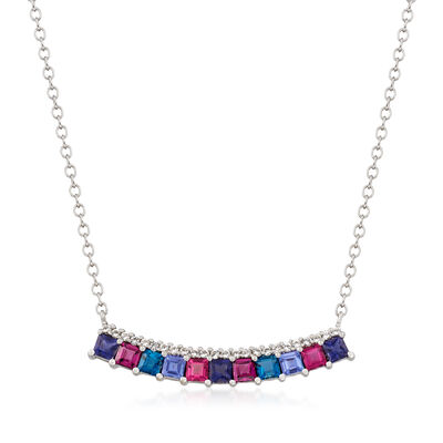 2.10 ct. t.w. Multi-Gemstone Bar Necklace in Sterling Silver, , default
