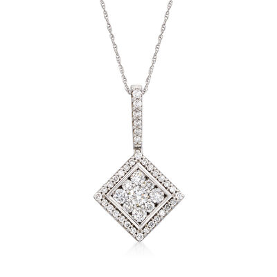 C. 1990 Vintage .75 ct. t.w. Diamond Square Pendant Necklace in 14kt White Gold, , default