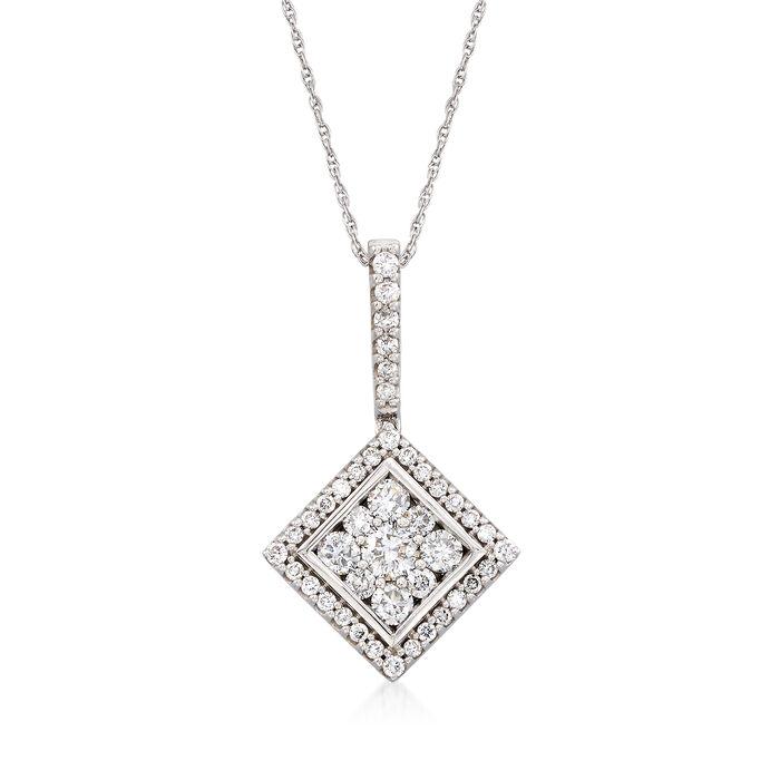 "C. 1990 Vintage .75 ct. t.w. Diamond Square Pendant Necklace in 14kt White Gold. 16"", , default"