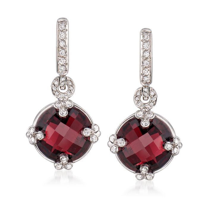 C. 2000 Vintage 12.00 ct. t.w. Garnet and .35 ct. t.w. Diamond Drop Earrings in 18kt White Gold, , default