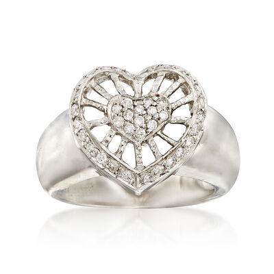 C. 1990 Vintage .50 ct. t.w. Diamond Openwork Heart Ring in 14kt White Gold, , default