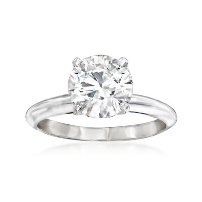 2.00 Carat Certified Diamond Solitaire Ring in Platinum