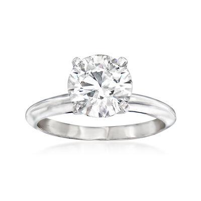 2.00 Carat Certified Diamond Solitaire Ring in Platinum