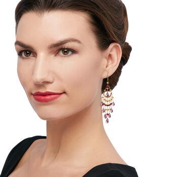 18.00 ct. t.w. Amethyst and 5.50 ct. t.w. Citrine with 3.20 ct. t.w. Garnet Chandelier Earrings in 14kt Yellow Gold