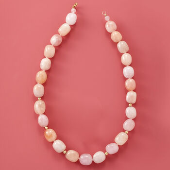 500.60 ct. t.w. Morganite Beaded Necklace in 14kt Yellow Gold, , default
