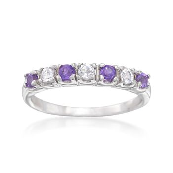 .20 ct. t.w. Amethyst and .20 ct. t.w. White Topaz Ring in Sterling Silver, , default