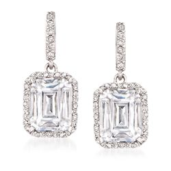 4.50 ct. t.w. CZ Drop Earrings in Sterling Silver , , default