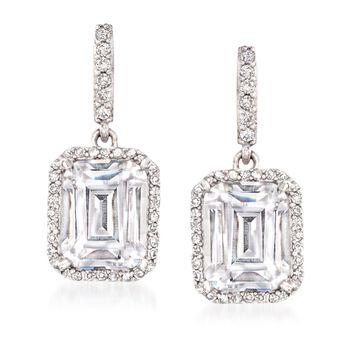 4.50 ct. t.w. CZ Drop Earrings in Sterling Silver , , default