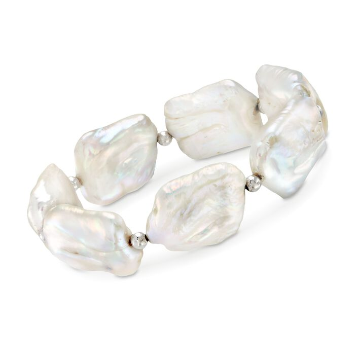 17-20mm Cultured Baroque Pearl Stretch Bracelet with Sterling Silver, , default