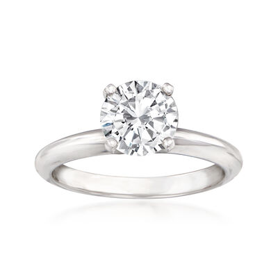 1.37 Carat Diamond Solitaire Ring in 14kt White Gold