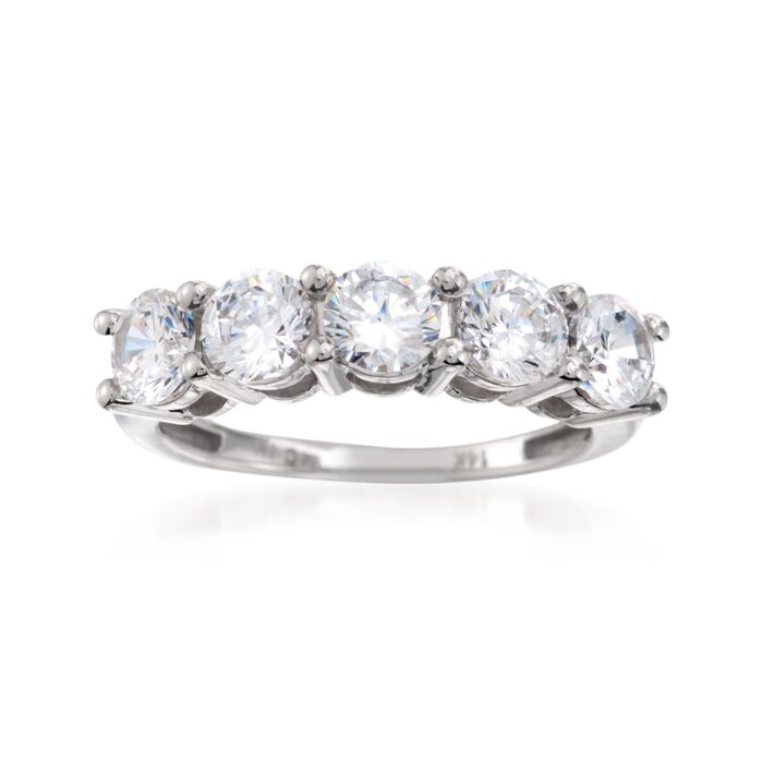 2.00 ct. t.w. CZ Five-Stone Ring in 14kt White Gold, , default
