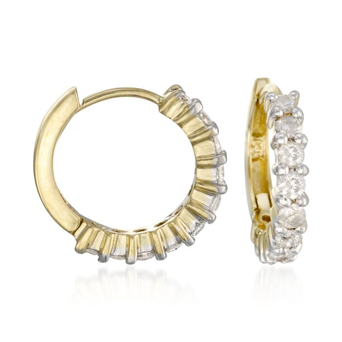 1.00 ct. t.w. Diamond Hoop Earrings in 14kt Yellow Gold