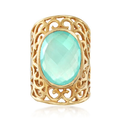 Chalcedony Wide Ring in 18kt Yellow Gold Over Sterling Silver, , default