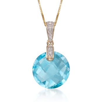 """7.35 Carat Blue Topaz Pendant Necklace With Diamonds in 14kt Yellow Gold. 18"""", , default"""