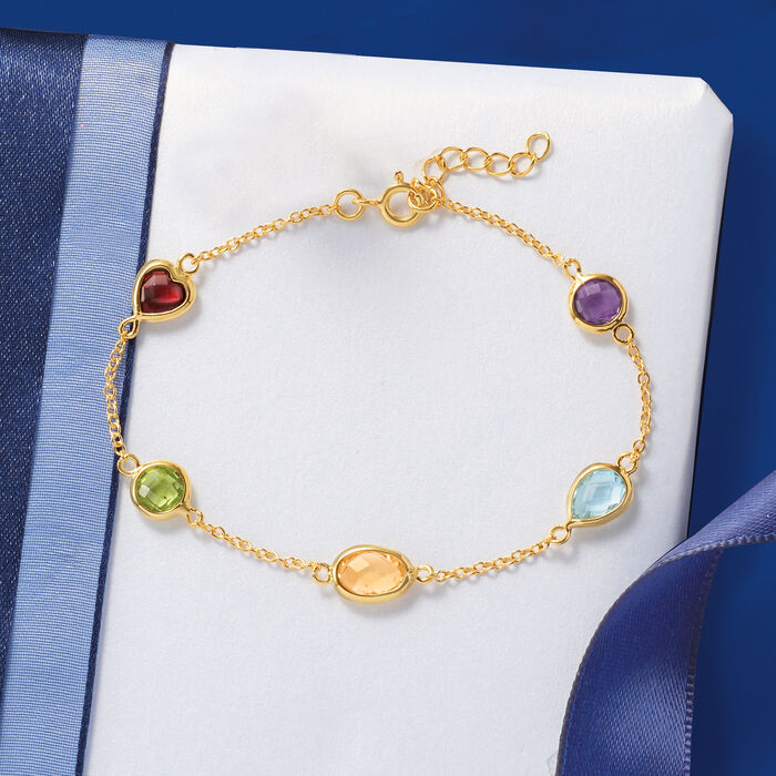 5.50 ct. t.w. Multi-Stone Station Bracelet in 18kt Gold Over Sterling