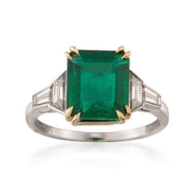 C. 1990 Vintage 2.25 Carat Emerald and .50 ct. t.w. Diamond Ring in Platinum and 18kt Yellow Gold, , default